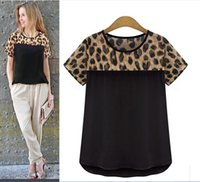 Wholesale plus size XXXXL women s colthes summer lady s chiffon blouse shirts Leopard splicing slim tops tee brand new European
