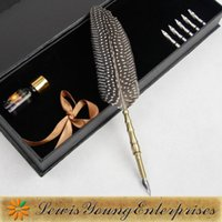 antique pheasant - Grey nice pheasant feather pen antique gift bussiness gift pen years friendship with partners harry potter feather dip pen