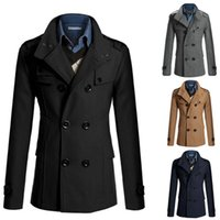 best wool coat brands - Fall New Fashion Brand Winter Mens Jackets And Coats Mens Double Breasted Stylish Coats Men Wool Coat Best Quality Trench Coat FN9251