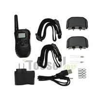 Wholesale 100m RechargeableBlack Waterproof LCD LV Level Shock Vibrate Remote Dog Training Collar