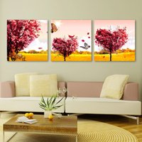 Cheap 3 Piece Hot Sell Modern Home Decorative Art Picture Paint on Canvas Prints Heart shape trees grow leaves,The butterfly,Leisure bench