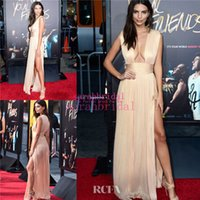 apple sales international - Emily Ratajkowski Celebrity Champagne Wedding Evening Dresses with Sexy Plunging V Neck High Slit Skirt Occasion Sale Red Carpet Gowns