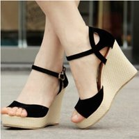 Cheap High Quality Summer Suede Leather Women Fashion Wedges Sandals Flip-Flops Black Red Female Shoes 2014 Woman Platform Sandals