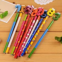 Wholesale A06 creative stationery cute cartoon figures wooden pencil student prize pc