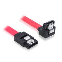 Wholesale 45cm Right angle L shape RT Red Serial ATA SATA HDD Hard Drive HD Data Signal Cable Free DHL