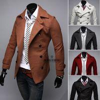 Wholesale Winter Fashion Men s Slim Fit Double Breasted Casual Woollen Jacket Men Wool Coat Trench Mens Peacoat Overcoat Jaqueta Masculina
