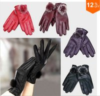 Wholesale Fashion Top Quality Brand Outdoor Winter Warm Ladies Leather Gloves real rabbit fur Mittens Women Waterproof Riding gloves