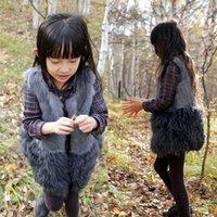 baby shrug - Baby Girls Fur Shrug Girls Fashion Rabbit Fur Splicing Tibet Sheep Fur Waistcoat Toddler Girls Autumn Winter Shearling Gilet