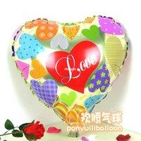 Wholesale 50pcs alumnum balloons Festival party supplies inch balloon hearts love valentine foil balloon helium balloon trade automatic