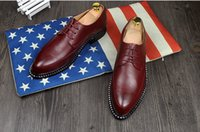 Cheap new Genuine Leather Men Dress Shoes British Style Oxford Shoes For Men Patent Leather Lace-Up Breathable Fashion Men Shoes