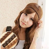Wholesale Hot Bohemia Style Wig Braid Headband Head Rings For Women Bride Wedding Hair Band Weaving Rope Accessory Black Colors
