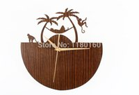 beach wall clocks - American style romantic Hawaii scenery monkey D wall clock fashion creative wood quartz watch lovely monkeys beach home decor