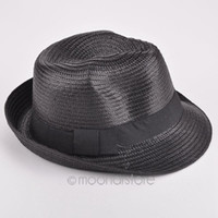 Wholesale New fashion mens womens Unisex solid straw sun hat Fedora Trilby Gangster Cap Summer Beach couple hat X MPJ103