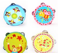 Wholesale Cartoon Wooden Tambourine Rattles Drums Orff Musical Instrument Kids Party Favors Many Designs CM