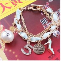 acrylic heels shoes - Fashion Charms Bracelet For Women Number High heeled Shoes Pearl Charm Bracelets Jewelry Colors Mix