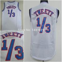 Wholesale 1 Tweety Bird Jersey Stitched Space Jam Tune Squad Tweety Bird White Basketball Jersey