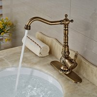 bathroom sink brands - And Retail Brand NEW Deck Mounted Antique Brass Bathroom Basin Faucet Vanity Sink Mixer Tap Swivel Kitchen Faucet