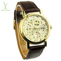 alibaba express - Alibaba Express Fashion Leather Manual Mechanical Hand Wind Skeleton Watches for Men Vine Fashion Man Wristwatch WA1001