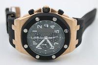 Wholesale new luxury limited sapphire golden black crystal quartz chronograph leather belt men s watch