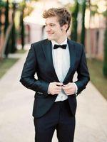 best clothes design - New Design Black Slim Fit Groom Tuxedos Peaked Lapel Best Men s Wedding Dresses Prom Clothing Jacket pants tie