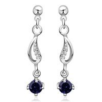 Wholesale Fashion jewelry Silver Earrings Blue Gemstone Zircon Earrings Pretty Crystal Earrings