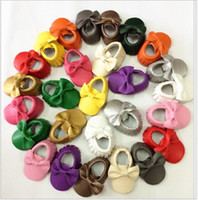 Wholesale New Baby Girls First Walker Shoes moccs Baby moccasins soft sole moccasin newborn bow cow shoes Tassels maccasions shoes
