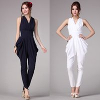 overalls - 2015 Summer New OL Style Jumpsuit for Women Temperament Siamese Harem Pant Loose Trousers Slacks Solid V neck Sleeveless Jumpsuit Overalls