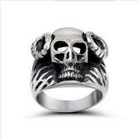 band of skulls - High Quality Horn Of Sheep Skull Claws Men s Ring L Stainless Steel Ring Punk Rock Jewelry Hot Fashion R0533