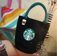Wholesale Fashion women canvas tote Cylinder package STARBUCKS casual lunch bag Pendant