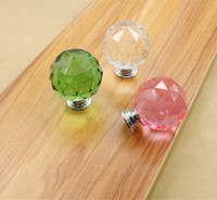 Wholesale Crystal handle mm spherical drawer handle Wardrobe cabinet handle Single hole multi color handle