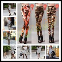 Wholesale hot Fashion elasticity night club camouflage pants sexy printing color women leggings patterned tights girl graffiti leggings