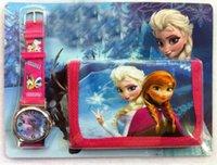 Wholesale 2014 Frozen Cartoon Kids Watch Wallet Purse Anna Elsa Olaf Children Birthday Gift Cartoon Watch