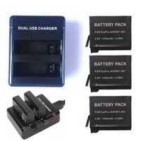 Wholesale 3x mAh AHDBT Dual port Home Charger for Gopro Hero HD camera battery A Sanyo Battery Cell Real Capacity
