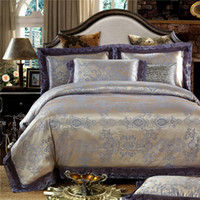 Wholesale Gray Colored Pieces Luxury Bedding Set Queen King Size Silk Cotton Jacquard Lace Bed Linen Wedding Bedding Set