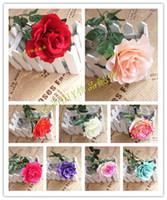 10pcs / Lot de Gran Tamaño flores artificiales de Rose de flores de seda para el hogar decoración de la boda del ramillete de plástico Rosas secadas de la decoración floral