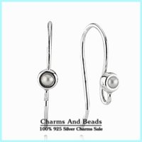 Wholesale 925 Sterling Silver Pearl Earrings Hooks Findings Fit Pandora Drop Earrings For Women DIY Jewelry Making Fine Jewelry Components EAR009