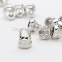 Cheap 20pcs  lot Hole 6mm For Round Leather Cord Rhodium Plated Bracelet Clasps Connectors End Caps For Jewelry DIY F1949