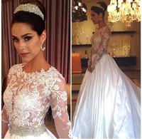 Wholesale Long Sleeve Lace Wedding Dresses Rhinestones Crystals Backless Sweep Train Wedding Dress Vintage Bridal Gowns Custom Made Plus Size