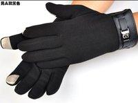 Gloves & Mittens fleece gloves - Mens Fleece touch screen cycling Warm Winter Gloves Black