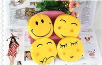 Wholesale QQ expression yellow color coin purses cute emoji portable coin bag plush pendant women bag accessories