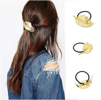 Wholesale Hair bands Gold Plated Alloy Leaf Hair Accessories For Women Brand New Fashion Brief Hair Rubber Bands Drop Shipping SHR397