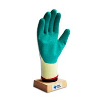 Wholesale 2001G Green color latex coated gloves with light yellow T C shell