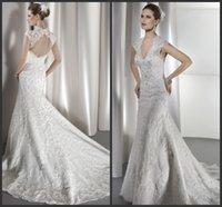 Cheap 2016 V Neck Ivory Wedding Dresses Zipper Open Back Beaded Capped Sleeves Appliques Lace EG Mermaid Bridal Gowns Court Train Demetrios 1449