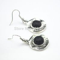 antique rocking - E129 Dangle Drop Natural Stone Earring Pair Lava Rock Volcano stone not plastic or resin Vintage Look Antique Silver
