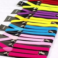 Wholesale 25colors Clip on Adjustable Braces Candy Color Elastic Unisex Pants Y back elastic Suspender Braces Drop Shipping