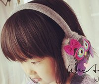 Wholesale Handmade Embroidery bow owl Children Earmuffs Thermal Plush owl Ear Protector Warm Kids Girls