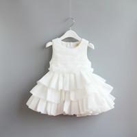 korean - 2015 Kids Girls Chiffon Cake dress baby girl white princess party dress luxury korean babies dress children s clothes