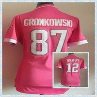 Cheap Free Ship Women's American Football shirt Tebow Brady Hernandez New England Welker Gronkowski Embroidery Jerseys 2015 Pink Bubble Gum Jersey