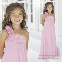 Reference Images Chiffon Floor-Length Discounted Princess Pink Flower Girl Dresses One Shoulder Handmade Flower Chiffon Junior Bridesmaid Dress 2016 F127