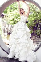 ruffled fabric - Unique Ivory Puffy Long Wedding Dresses A Line Sweetheart Ruffles Design Bridal Gowns Plus Size Fabric Satin Garden Affordable Dresses